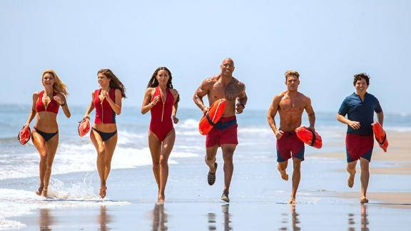 """""""Baywatch"""": Dwayne """"The Rock"""" Johnson heads up the cast of this film based on the very popular TV series about a group of lifeguards. (Hulu)"""