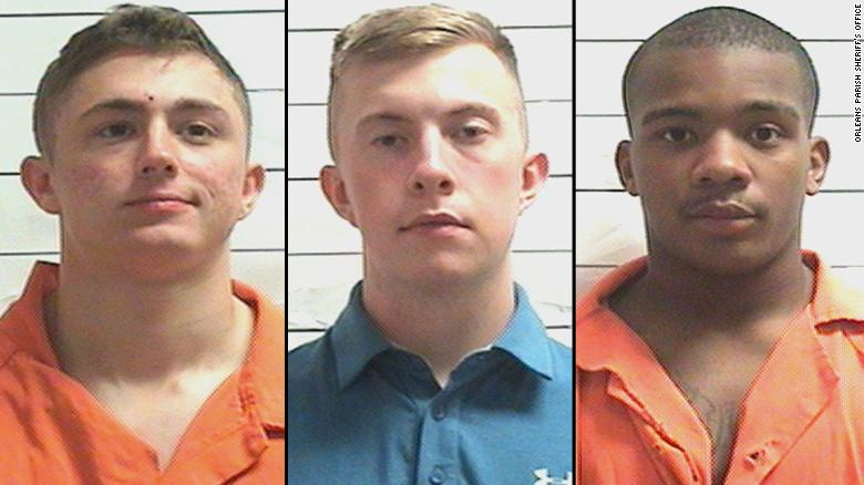 US Marines, from left, Jared Anderson, Alexander Davenport and Antonio Landrum were arrested in New Orleans.