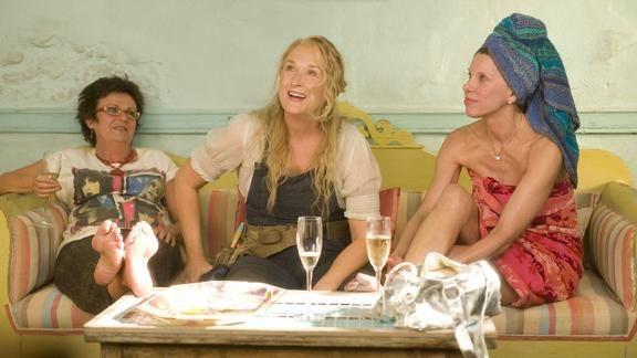 """""""Mamma Mia"""": Julie Waters, Meryl Streep and Christine Baranski star in this musical rom-com, featuring the music of ABBA. (Netflix)"""