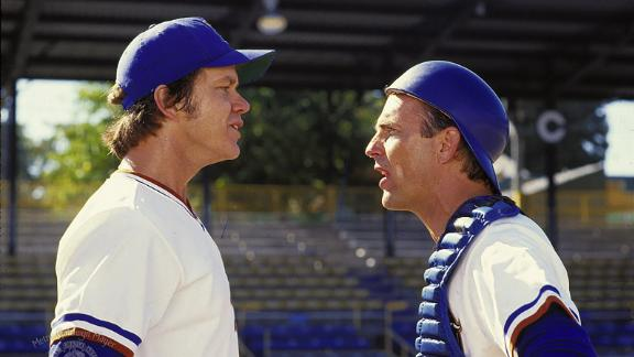 """""""Bull Durham"""": Tim Robbins and Kevin Costner star in this sports rom-com about a fan and some minor league baseball players. (Hulu)"""