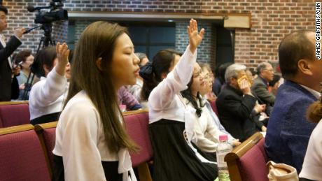North Korean refugees sing and pray during a church service in Seoul, South Korea on April 28, 2018.
