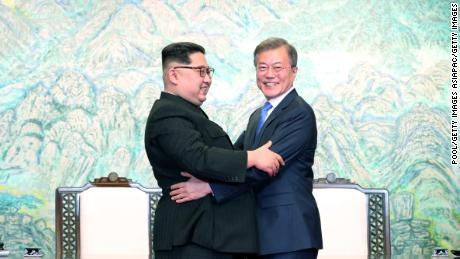 PANMUNJOM, SOUTH KOREA - APRIL 27:  North Korean leader Kim Jong Un (L) and South Korean President Moon Jae-in (R) embrace after signing the Panmunjom Declaration for Peace, Prosperity and Unification of the Korean Peninsula during the Inter-Korean Summit at the Peace House on April 27, 2018 in Panmunjom, South Korea. Kim and Moon meet at the border today for the third-ever Inter-Korean summit talks after the 1945 division of the peninsula, and first since 2007 between then President Roh Moo-hyun of South Korea and Leader Kim Jong-il of North Korea.  (Photo by Korea Summit Press Pool/Getty Images)