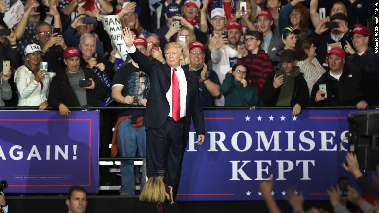 President Donald Trump speaks to supporters during a campaign rally on April 28, 2018 in Washington Michigan. Trump opened his speech mentioning that he was the White House Correspondents dinner in Washington, D.C. to be at the rally.