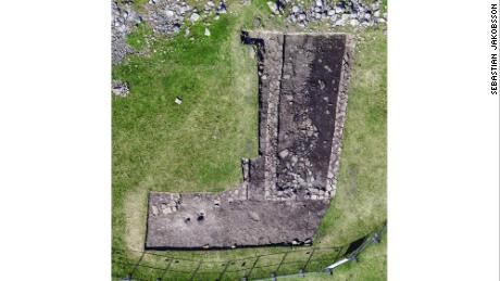 An aerial photograph of one of the homes that was excavated in 2016.