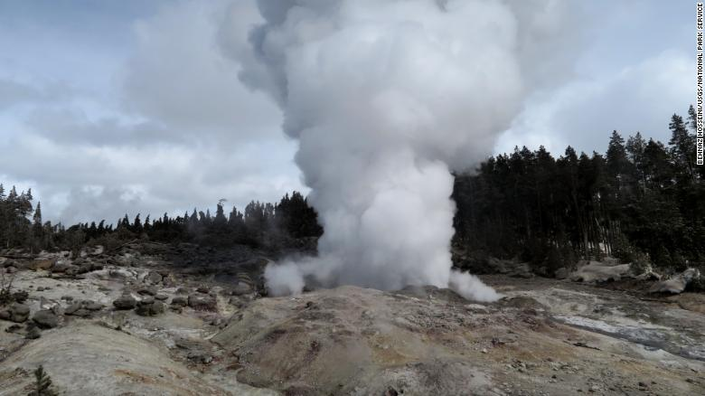 Steamboat geyser in the steam phase of eruption on March 16, 2018. the steam phase usually follows a few- to tens-of-minutes water phase and can last for hours to days. National Park Service photograph by Behnaz Hosseini.