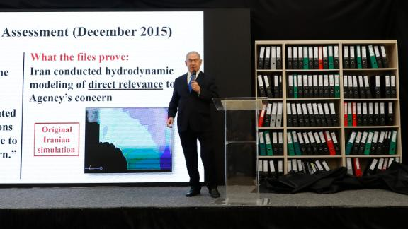 Israeli Prime Minister Benjamin Netanyahu delivers a speech on Iran's nuclear program at the defence ministry in Tel Aviv on April 30, 2018.