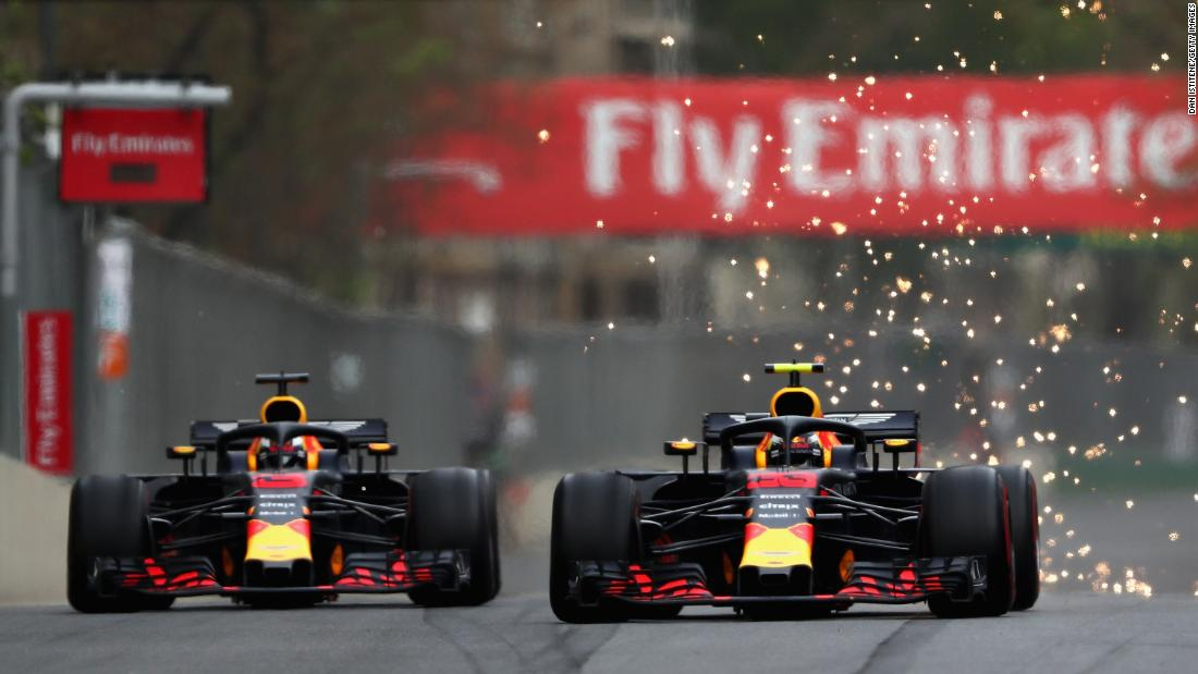 "Red Bull pair Max Verstappen and Daniel Ricciardo were forced to apologize to the entire team at their factory in Milton Keynes after a crash in Baku wiped them both out. Having already touched wheels on two occasions, the racing tension came to a head on turn one of lap 40, as Ricciardo went into the back of the Dutchman as he attempted an overtake. The FIA deemed both were to blame and furious team principle Christian Horner said: ""They are both in the doghouse, you can see that in their body language.""<br />"