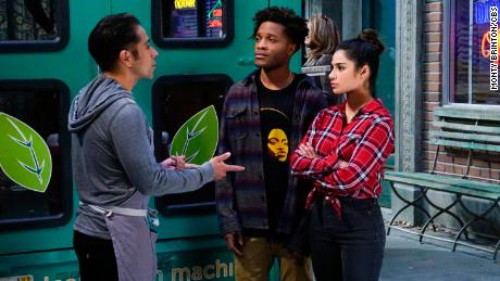 "Erik Rivera as Rafael, Jermaine Fowler as Franco, and Diane Guerrero as Sofia in an episode of ""Superior Donuts."""