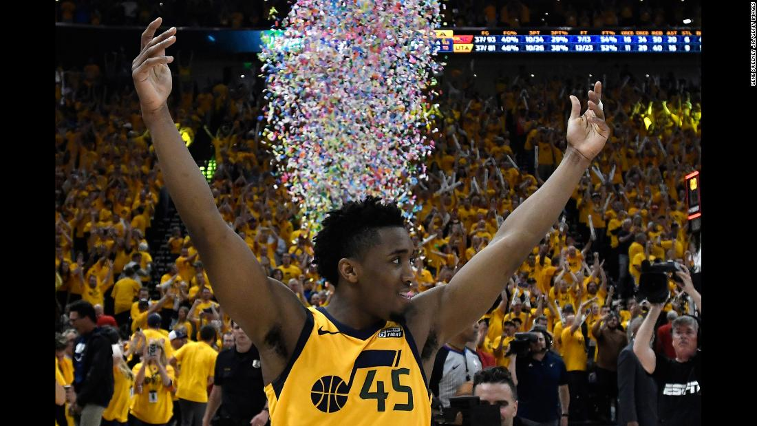 "Utah's Donovan Mitchell celebrates Friday, April 27, after the Jazz defeated Oklahoma City to advance to the second round of the NBA Playoffs. Mitchell scored 38 points in <a href=""http://bleacherreport.com/articles/2773105-donovan-mitchell-leads-jazz-to-2nd-round-with-win-vs-russell-westbrook-thunder"" target=""_blank"">the Game 6 clincher.</a>"