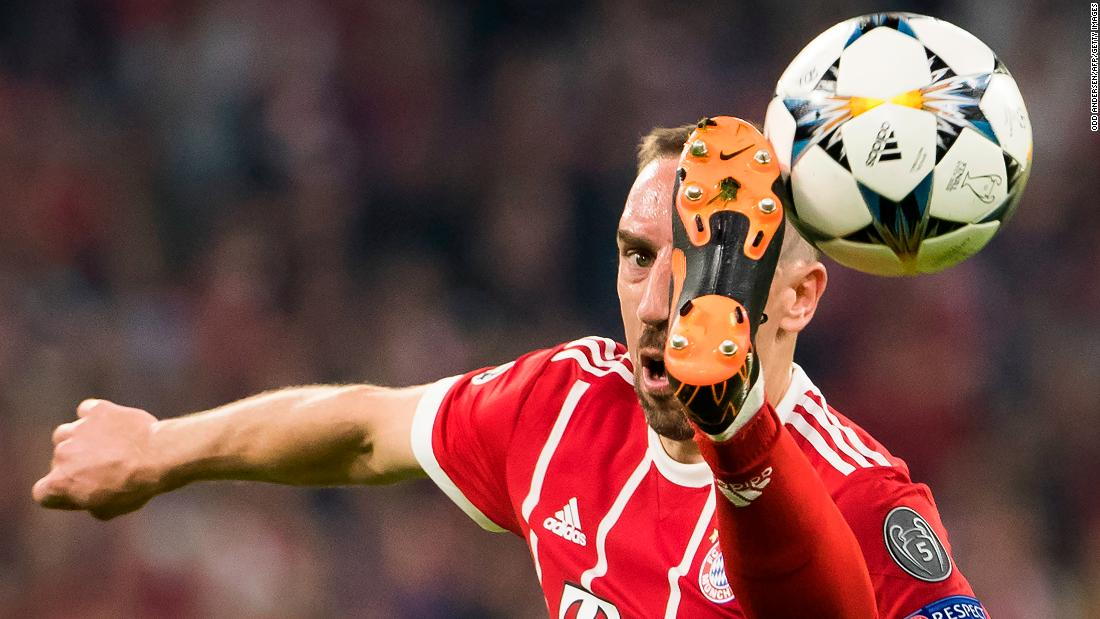 Bayern Munich's Franck Ribery controls the ball during a Champions League match against Real Madrid on Wednesday, April 25.