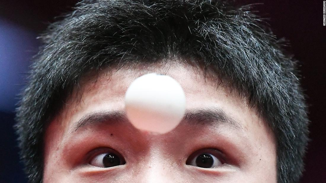 Tomokazu Harimoto, a table tennis player from Japan, focuses on the ball during a match at the World Championships on Monday, April 30.