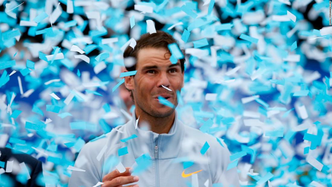 "Confetti falls around Rafael Nadal after the Spaniard <a href=""http://bleacherreport.com/articles/2773290-rafael-nadal-beats-stefanos-tsitsipas-to-win-2018-barcelona-open-banc-sabadell"" target=""_blank"">won the Barcelona Open</a> on Sunday, April 29. It was the 11th time Nadal won the tournament."