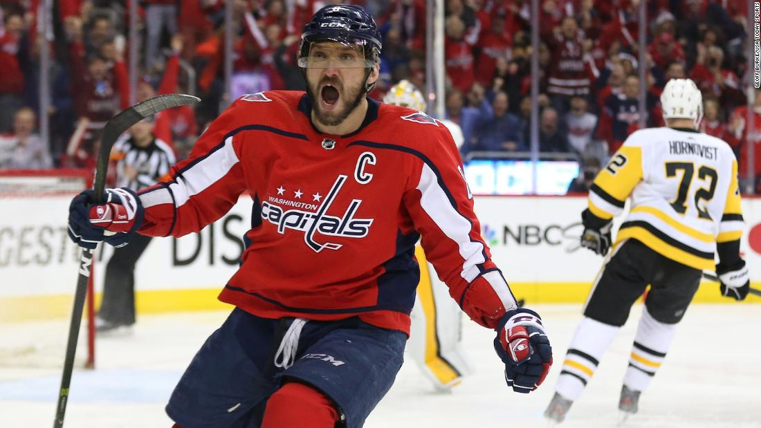 "Washington superstar Alexander Ovechkin celebrates after scoring a first-period goal against Pittsburgh on Sunday, April 29. <a href=""http://bleacherreport.com/articles/2773336-alex-ovechkin-capitals-beat-sidney-crosby-penguins-4-1-to-even-series-at-1"" target=""_blank"">Washington won 4-1</a> to even the second-round playoff series at 1-1. Pittsburgh has eliminated Washington at this stage in each of the last two seasons."