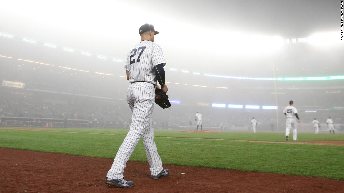 New York Yankees slugger Giancarlo Stanton takes the field during a foggy home game against Minnesota on Wednesday, April 25.