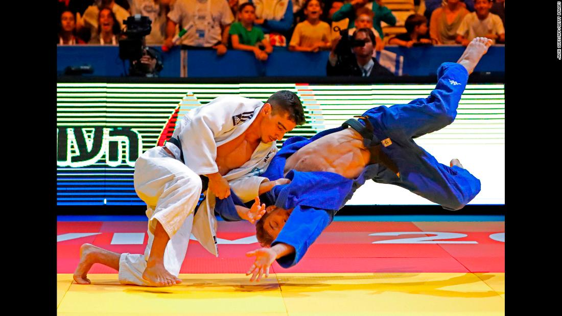 Israel's Tal Flicker, left, competes against Slovenia's Adrian Gomboc at the European Judo Championships, which ended in Tel Aviv, Israel, on Saturday, April 28. Gomboc went on to win gold in their weight class. Flicker finished with a bronze.