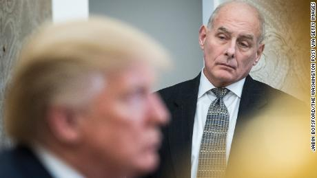 WASHINGTON, DC - FEBRUARY 2: White House Chief of Staff John Kelly watches as President Donald Trump speaks during a meeting with North Korean defectors in the Oval Office at the White House in Washington, DC on Friday, Feb. 02, 2018. President Donald Trump talked to reporters and members of the media about the release of a secret memo on the F.B.I.'s role in the Russia inquiry. (Photo by Jabin Botsford/The Washington Post via Getty Images)