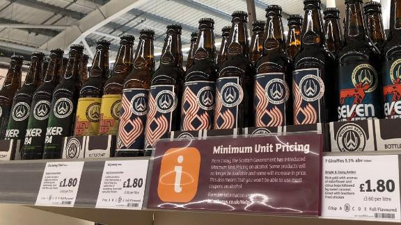 Minimum alcohol pricing. Alcohol for sale in a Stirling supermarket as Scotland has become the first country in the world to introduce minimum unit pricing for drinks. Photo date: Tuesday May 1, 2018. The minimum 50p per unit price, delayed for six years by a legal challenge led by the Scotch Whisky Association, has been welcomed by the medical professional and health campaigners as the biggest breakthrough in public health since the ban on smoking in public. See PA story POLITICS Alcohol. Photo credit should read: Andrew Milligan/PA Wire URN:36273418