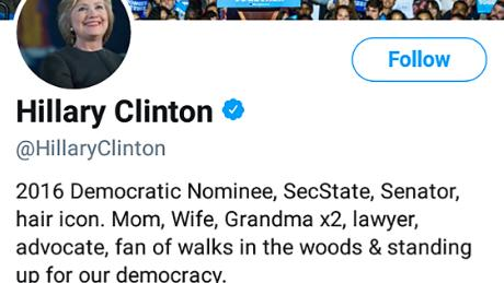 Hillary Clinton changed her Twitter bio on April 30, 2018.