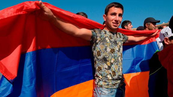 A Pashinyan supporter in Yerevan, ahead of the vote.