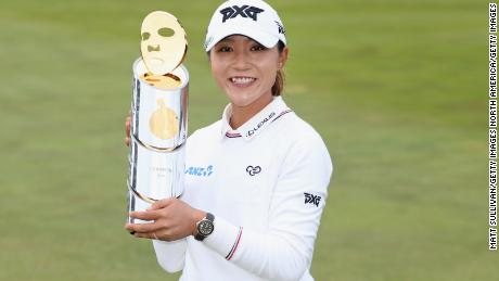 Lydia Ko celebrates after winning the Mediheal Championship at Lake Merced Golf Club.