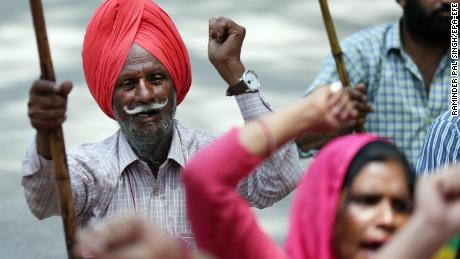Workers attend a rally in Amritsar, north-west India.
