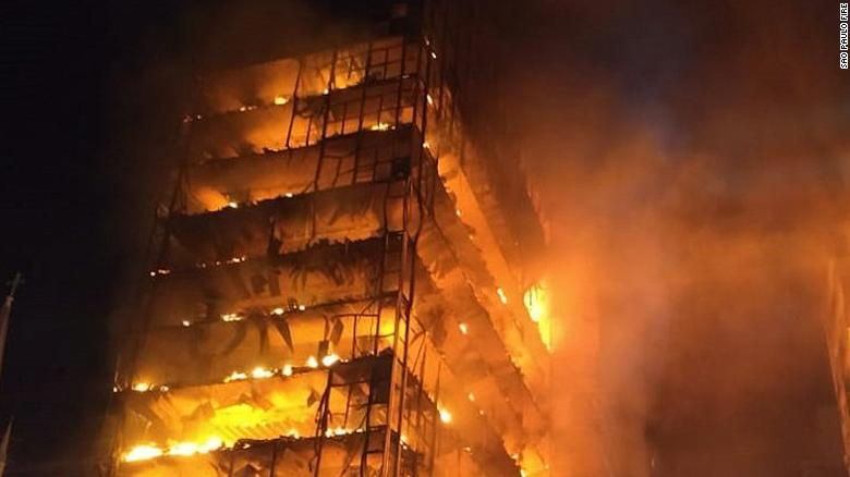 brazil fire sao paulo building consumed in deadly blaze cnn
