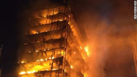 Moment fire collapses building in Sao Paulo