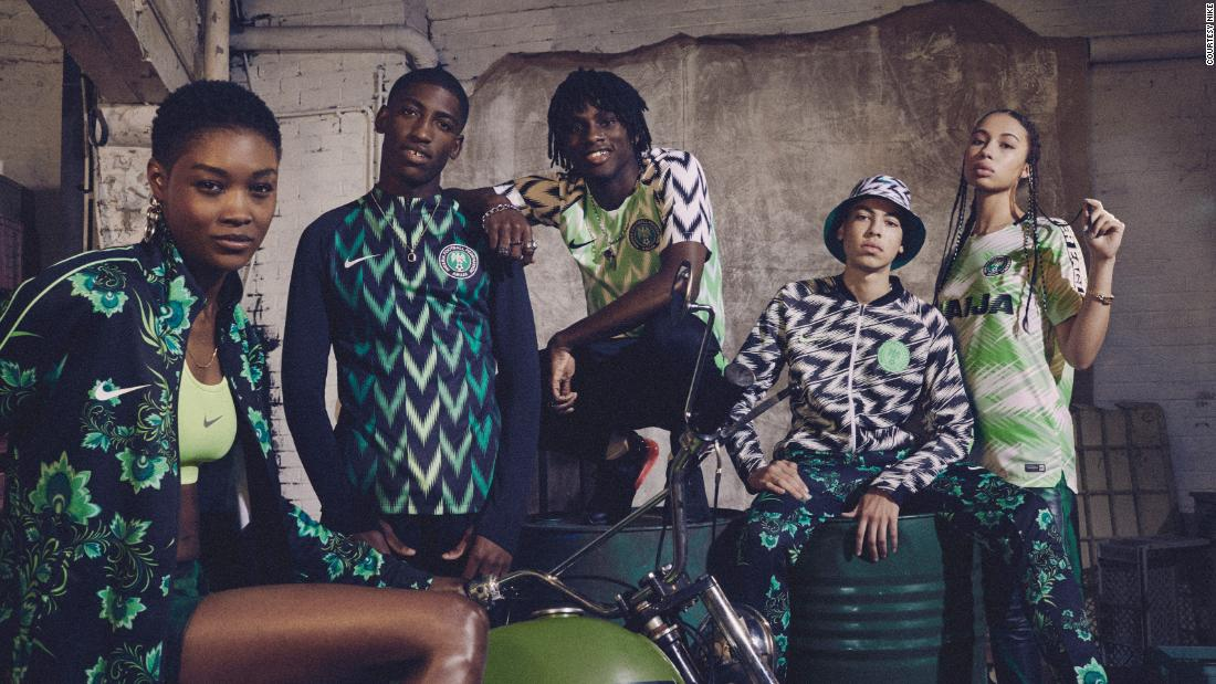 "Taking inspiration from the team's ""Super Eagles"" nickname, Nike's kit for Nigeria's football team features a bold neon green pattern that echoes the pattern of eagle wing feathers."