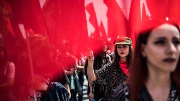 Demonstrators at a May Day rally in Istanbul, Turkey, on Tuesday May 1.