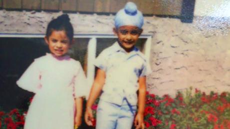 Winty Singh (right) and his sister Trishanjit as children.