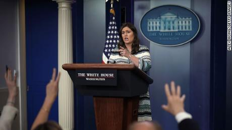 WASHINGTON, DC - MAY 01:  White House Press Secretary Sarah Sanders speaks during a White House daily news briefing at the James Brady Press Briefing Room of the White House May 1, 2018 in Washington, DC. Sanders held a daily briefing to answer questions from members of the White House Press Corps.  (Photo by Alex Wong/Getty Images)