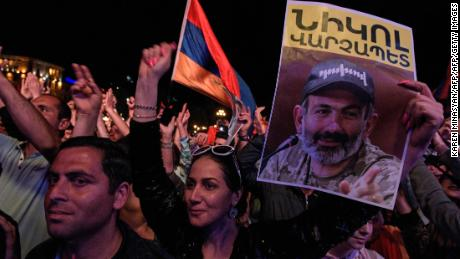 Pashinyan supporters rally in Yerevan Tuesday night.
