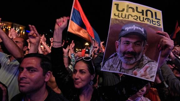 Supporters of Armenian opposition leader Nikol Pashinyan attend a rally in downtown Yerevan on Tuesday.
