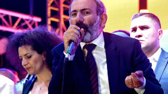 Nikol Pashinyan addresses supporters in downtown Yerevan.