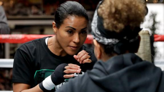 Braekhus trains during a media workout at the Wild Card West Boxing Club, California