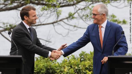 France's President Emmanuel Macron (L) shakes hands with Australia's Prime Minister Malcolm Turnbull (R) during a joint press conference at Kirribilli House in Sydney on May 2, 2018. Macron is on a three-day visit to Australia. / AFP PHOTO / LUDOVIC MARINLUDOVIC MARIN/AFP/Getty Images