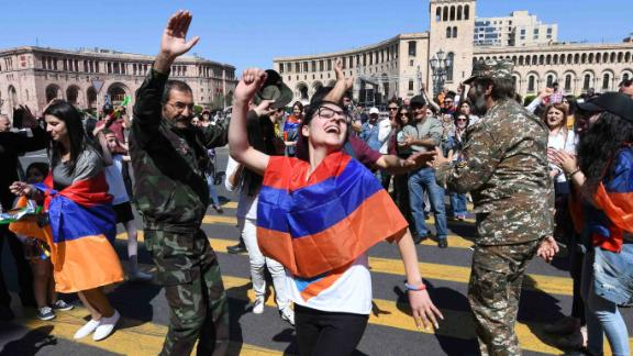 Pashinyan supporters dance in central Yerevan on Wednesday.