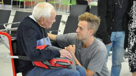 Australian scientist Professor David Goodall (L) farewells his grandson at Perth Airport, Western Australia on 02 May.