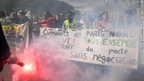 Thousands of people took to the streets during the May Day demonstrations in Paris.