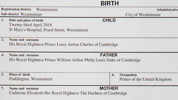 The official birth register entry of Prince Louis Arthur Charles of Cambridge, son of Prince William and the Duchess of Cambridge.