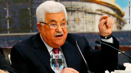 Palestinian Authority President Mahmoud Abbas speaks during a meeting of the Palestinian National Council in Ramallah on Monday.
