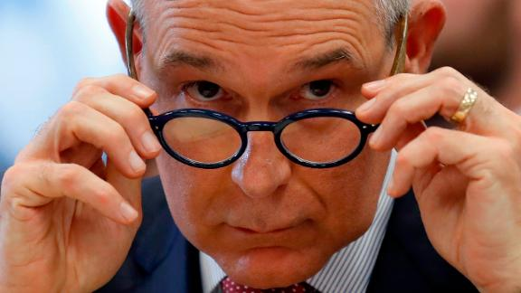 In this April 26, 2018 photo, Environmental Protection Agency Administrator Scott Pruitt removes his glasses as he testifies at a hearing of the House Appropriations subcommittee for the Interior, Environment, and Related Agencies, on Capitol Hil in Washington. (AP/Alex Brandon)