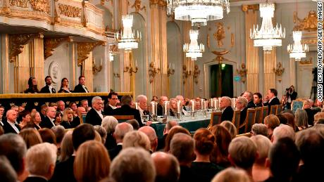 Guests attend the Swedish Academy's annual meeting on December 20, 2017 at the Old Stock Exchange building in Stockholm.