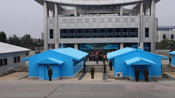 The Panmunjom Peace Village at the Korean Demilitarized Zone (DMZ). A letter addressed to US President Donald Trump from North Korean leader Kim Jong Un was handed over at the DMZ, a State Department official confirms.