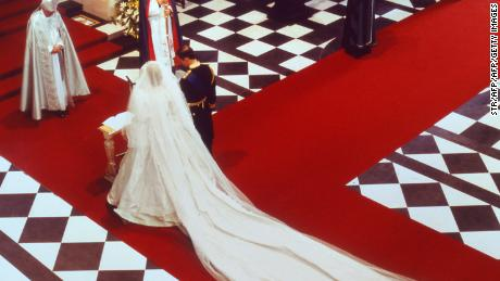 Lady Diana, Princess of Wales and Prince Charles of Wales at their wedding in London at St Paul Cathedral 29 July 1981.