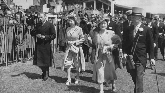 It's a far cry from the Royal Box, from where generations of British monarchs have watched the race unfold. (From left to right: King George VI, Princess Elizabeth (later Queen Elizabeth II), Queen Elizabeth (later Queen Mother) and the 16th Duke of Norfolk pictured at Epsom in 1948).