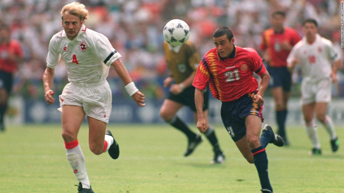 While Spain's 1994 US World Cup wasn't the most successful in its history, the shirt -- featuring three stripes made up of yellow and navy diamonds -- was unique and was worn by the likes of Pep Guardiola, Miquel Nadal and Luis Enrique.
