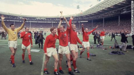 England wore its red away kit to win the 1966 World Cup against West Germany .