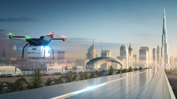 A rendering of a DP Cargospeed route with drones and trucks working within the supply chain. Drone delivery services are taking off in Dubai, and are just one way drones are becoming integrated into everyday life.  Scroll through to discover more innovative drones around the world.