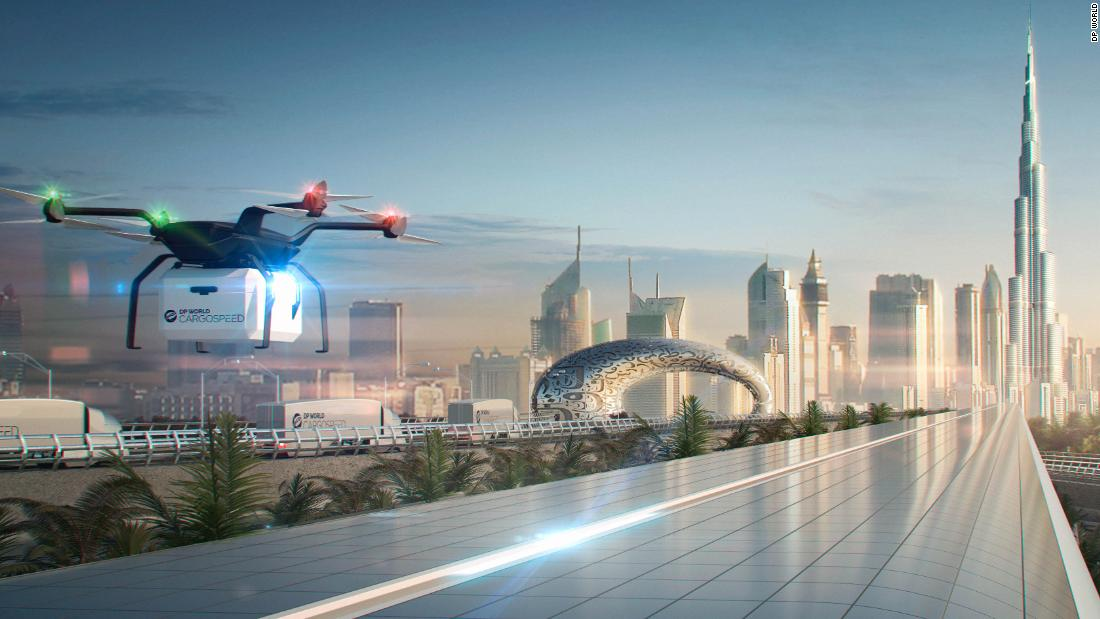 A rendering of a DP Cargospeed route with drones and trucks working within the supply chain. Drone delivery services are taking off in Dubai, and are just one way drones are becoming integrated into everyday life.<br /><strong><em><br />Scroll through to discover more innovative drones around the world.</strong></em>